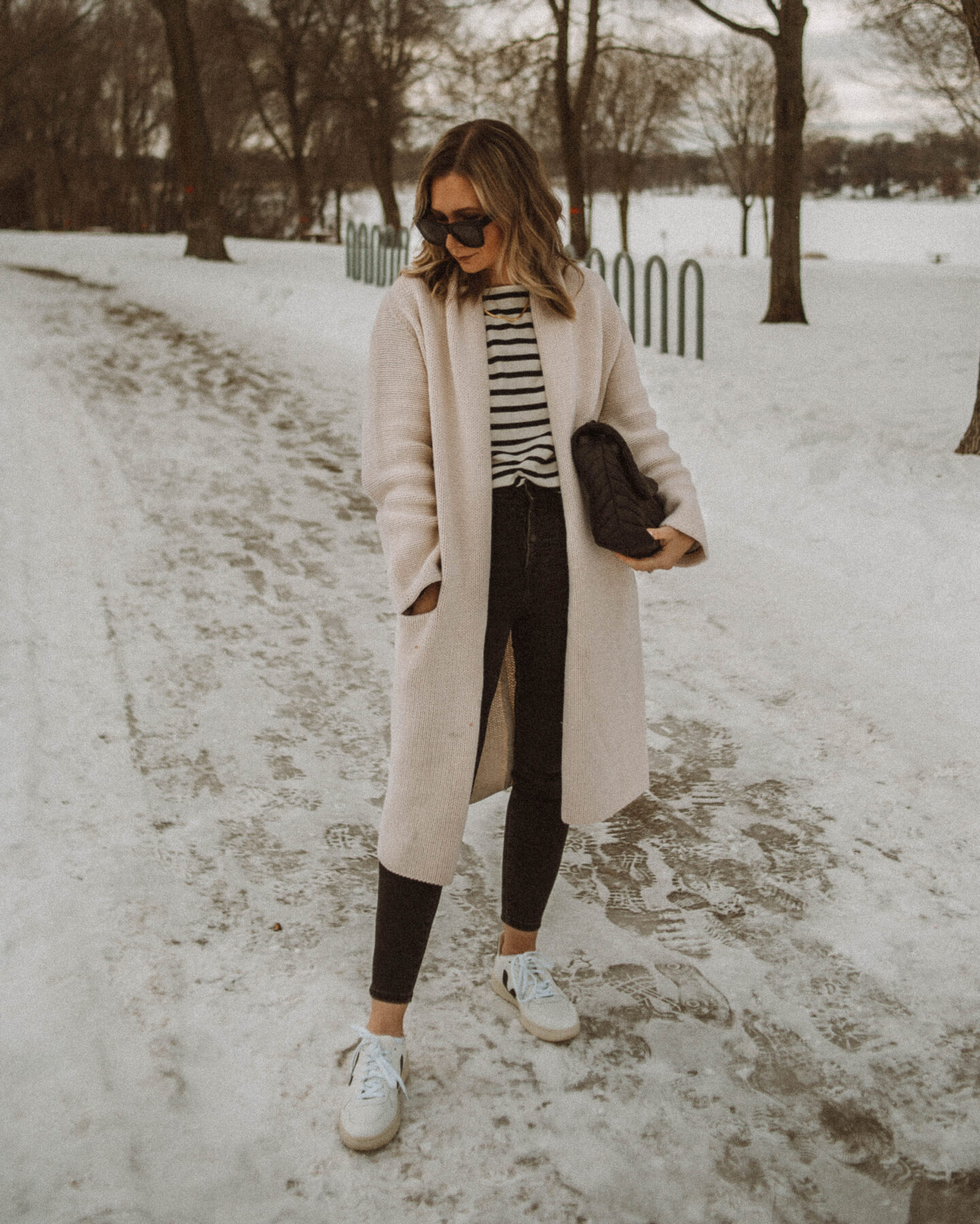 sweater coat, everlane breton stripe tee, everlane authentic stretch skinny jeans, white veja v-10 sneakers
