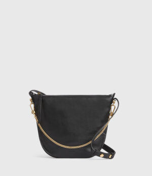 All Saints Black Leather Shoulder Bag