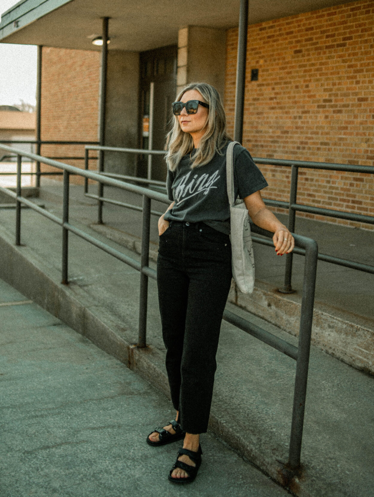 anine bing tee, graphic tee, everlane way high jeans, black high waisted jean, black straight leg jeans, chunky sandals, chanel lookalike sandals