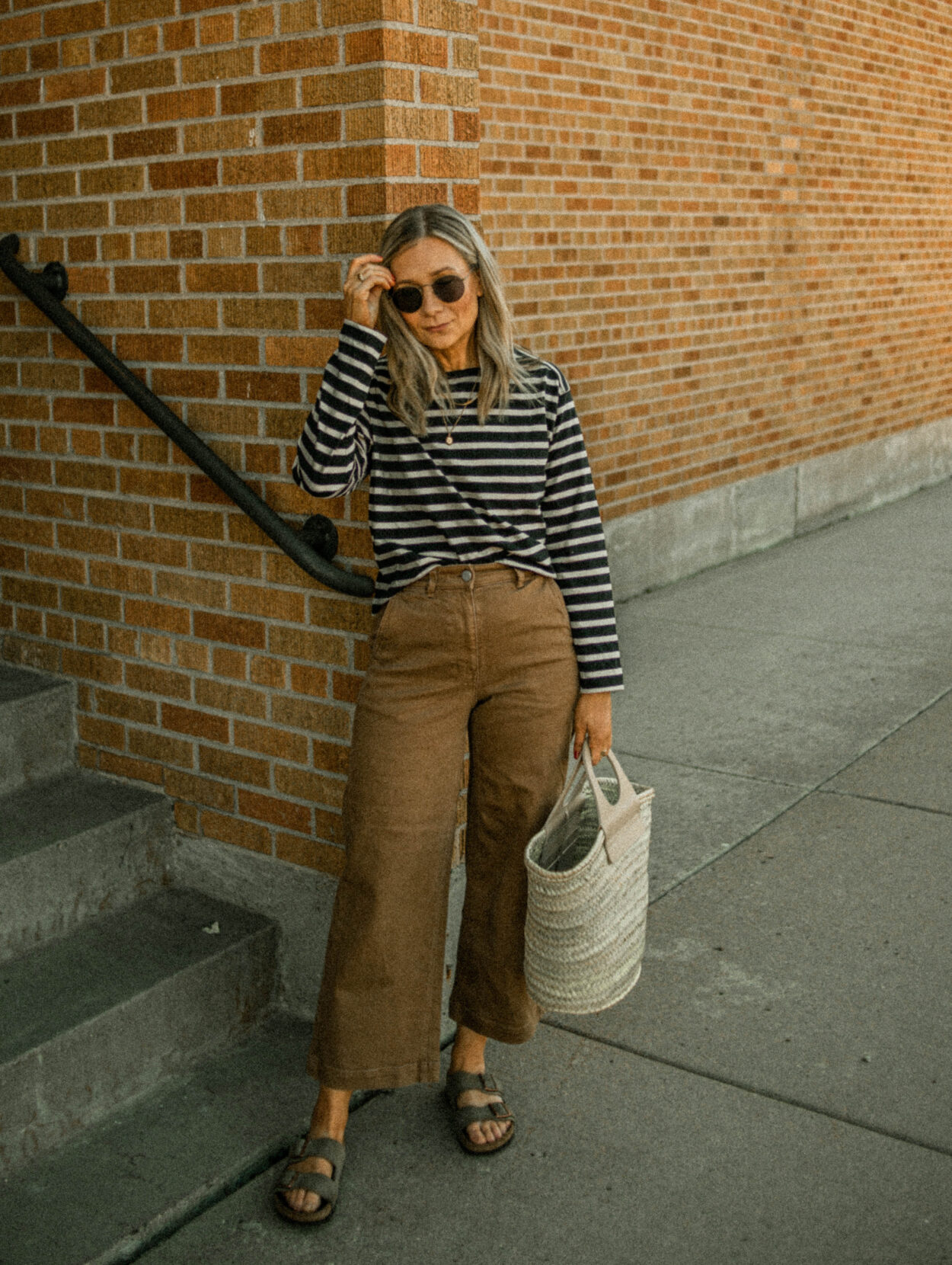 birkenstock arizona, wide leg pants, breton stripe shirt, hereu basket bag