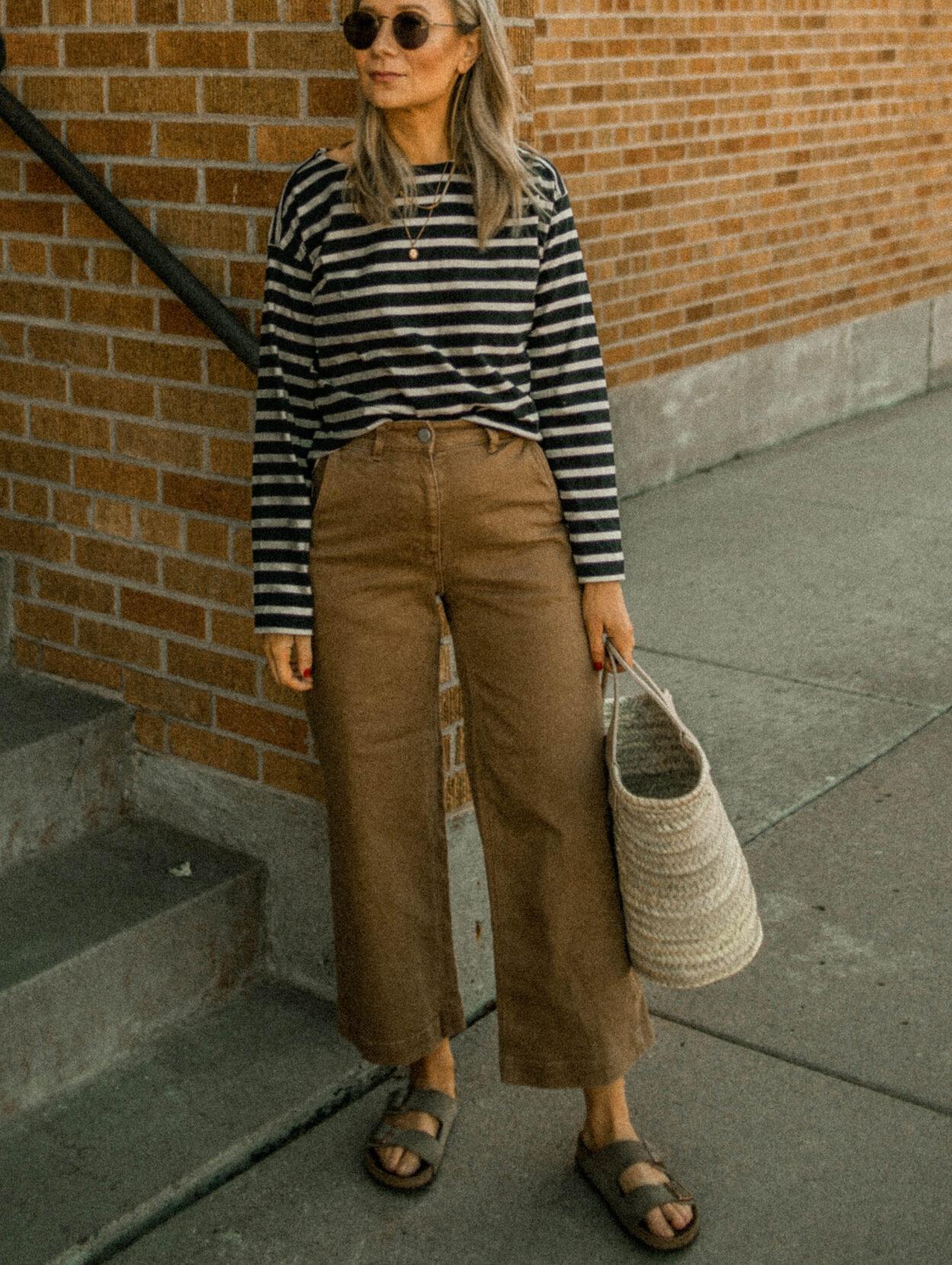 birkenstock arizona, wide leg pants, breton stripe shirt, hereu basket bag