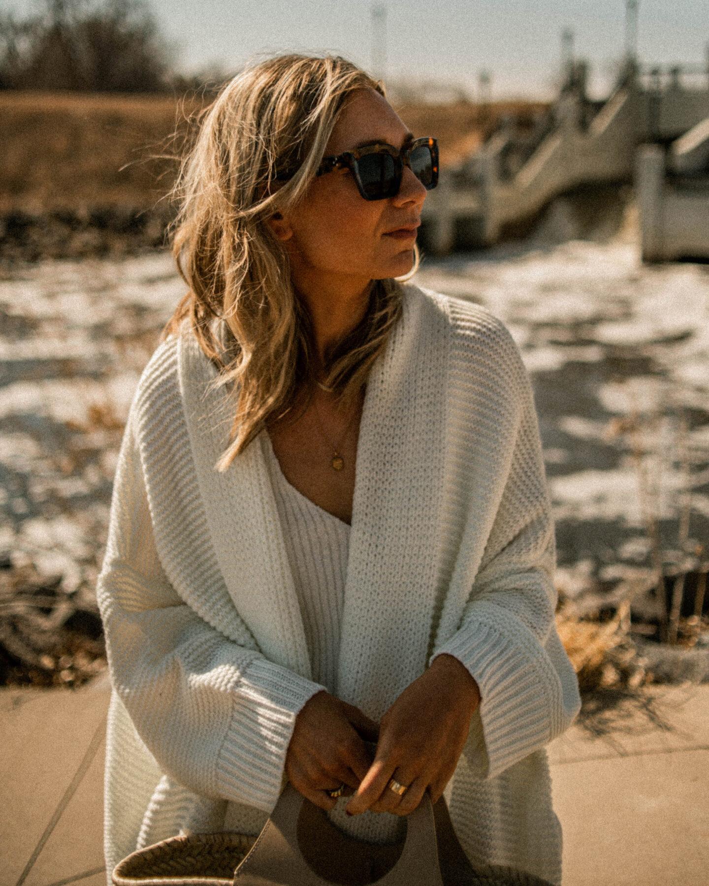 Spring Revolve Picks, white maxi cardigan, white sweater tank