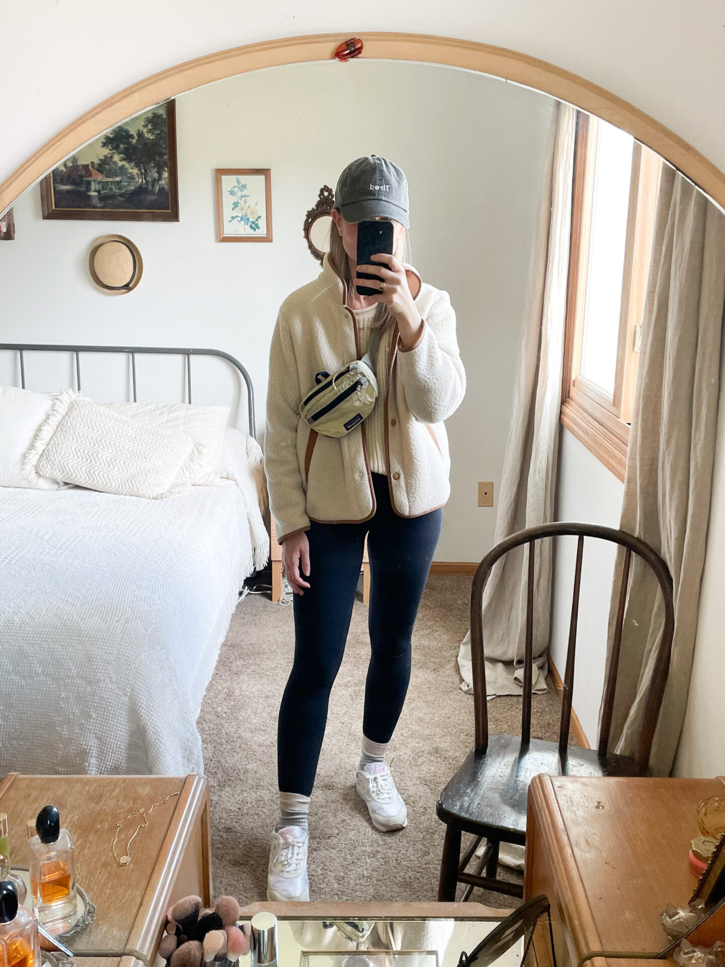 what I wore last week, leggings, fleece jacket, white sneakers