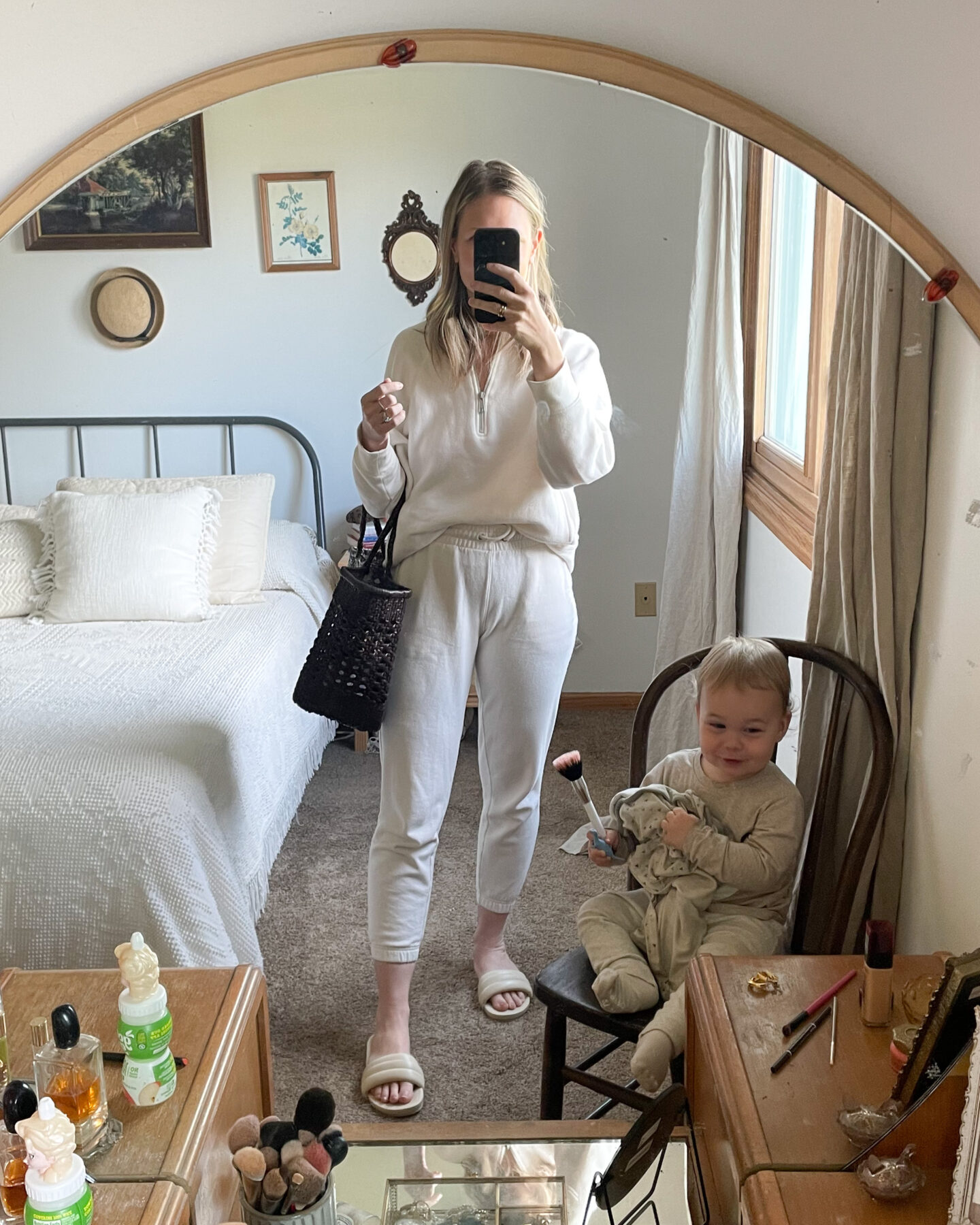 what I wore this week, white jogger set, half zip sweatshirt, brown basket bag