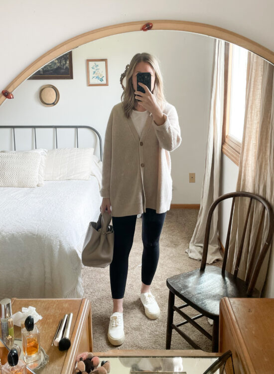 what I wore this week, cashmere cardigan, legging outfit, white sneakers, polene no. 6 bag