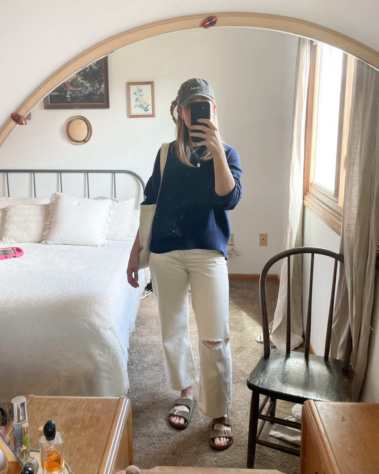 what I wore last week, navy sweater, white jeans, distressed jeans, birkenstock arizonas