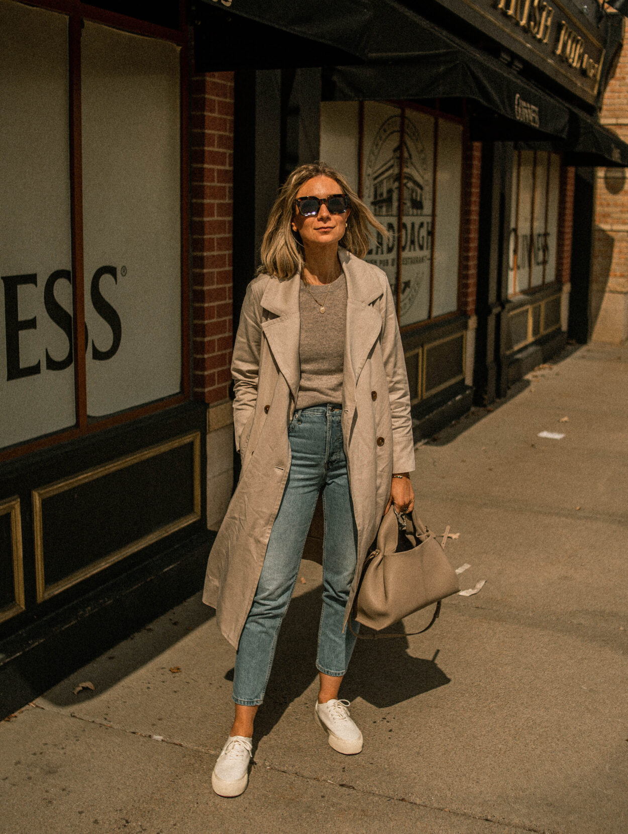 everlane, drapey trench coat, cashmere tee, platform sneaker
