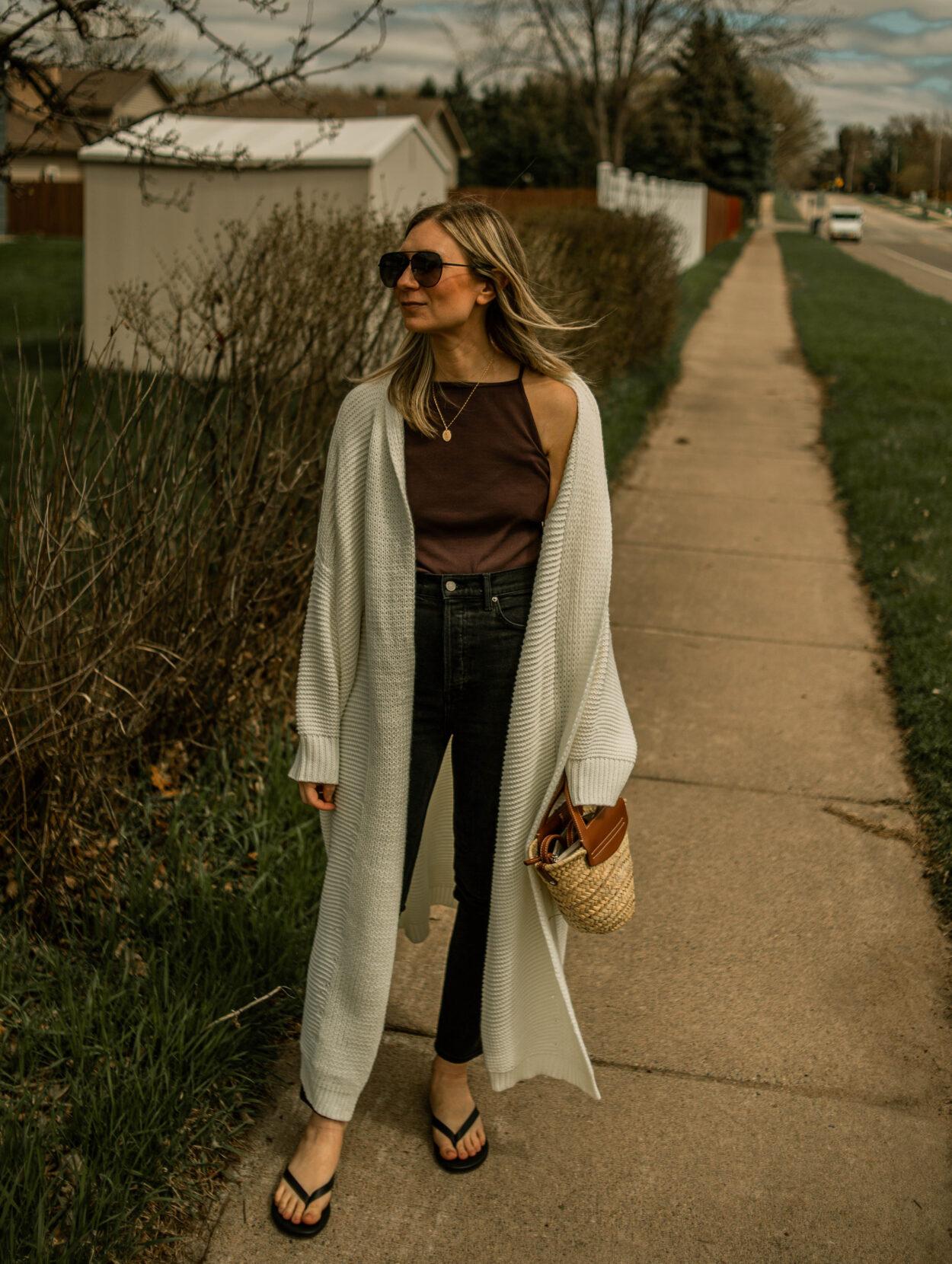 black jeans, brown tank top, cream maxi cardigan