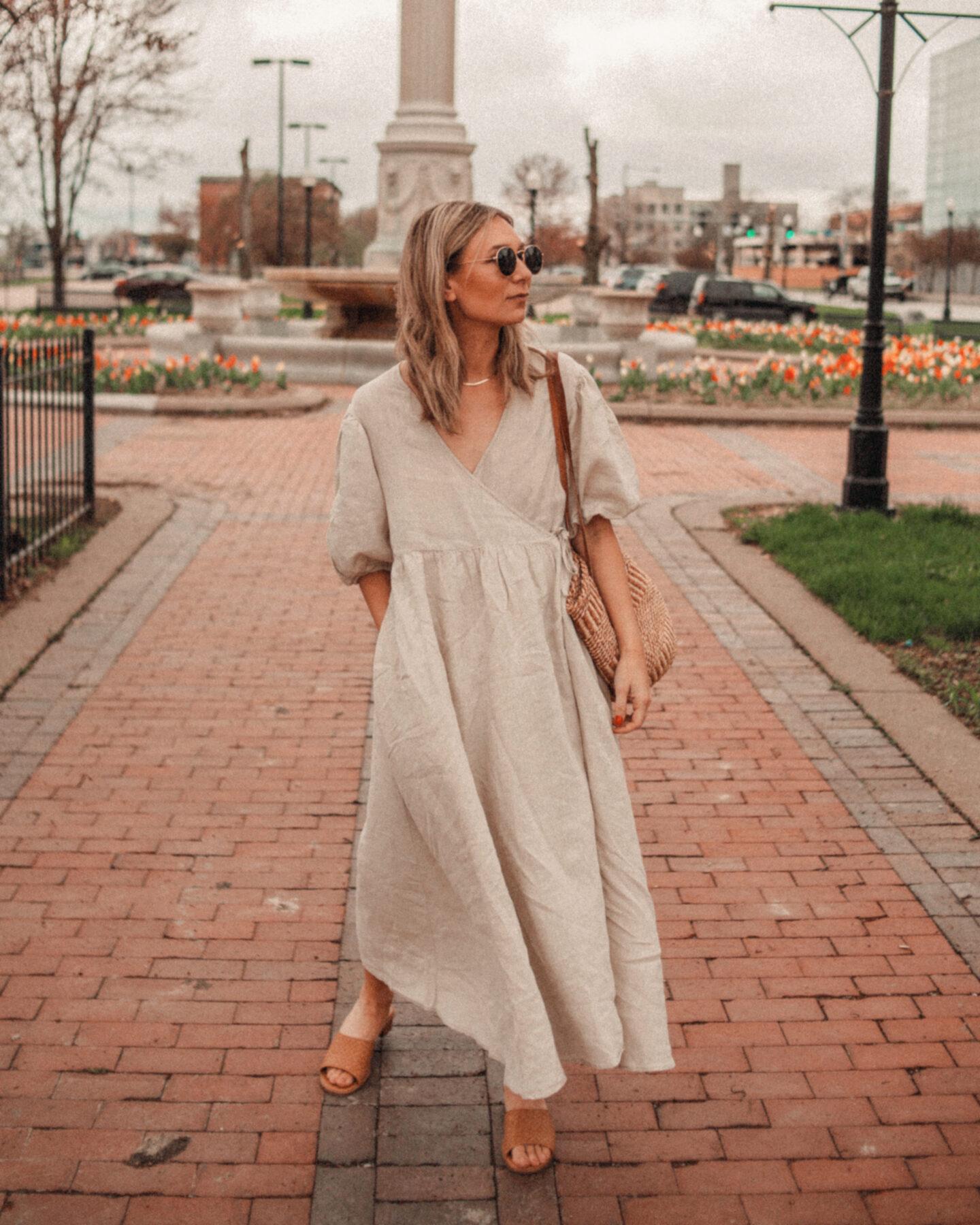 Linen spring dress, linen summer dress
