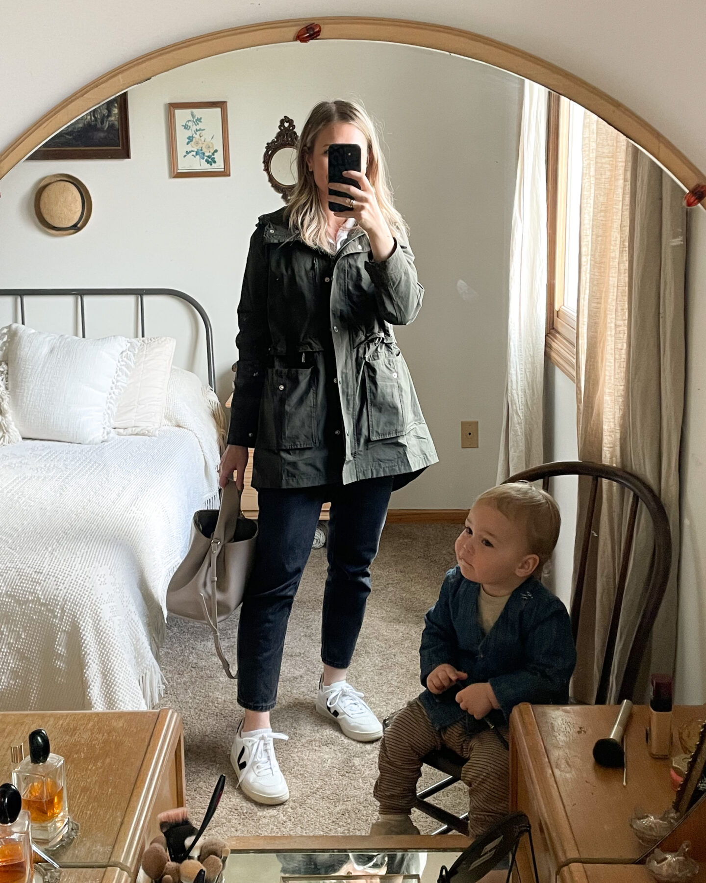 what I wore this week, rain jacket, khaki green spring jacket, everlane 90's cheeky jeans, washed black jeans, veja v-10's