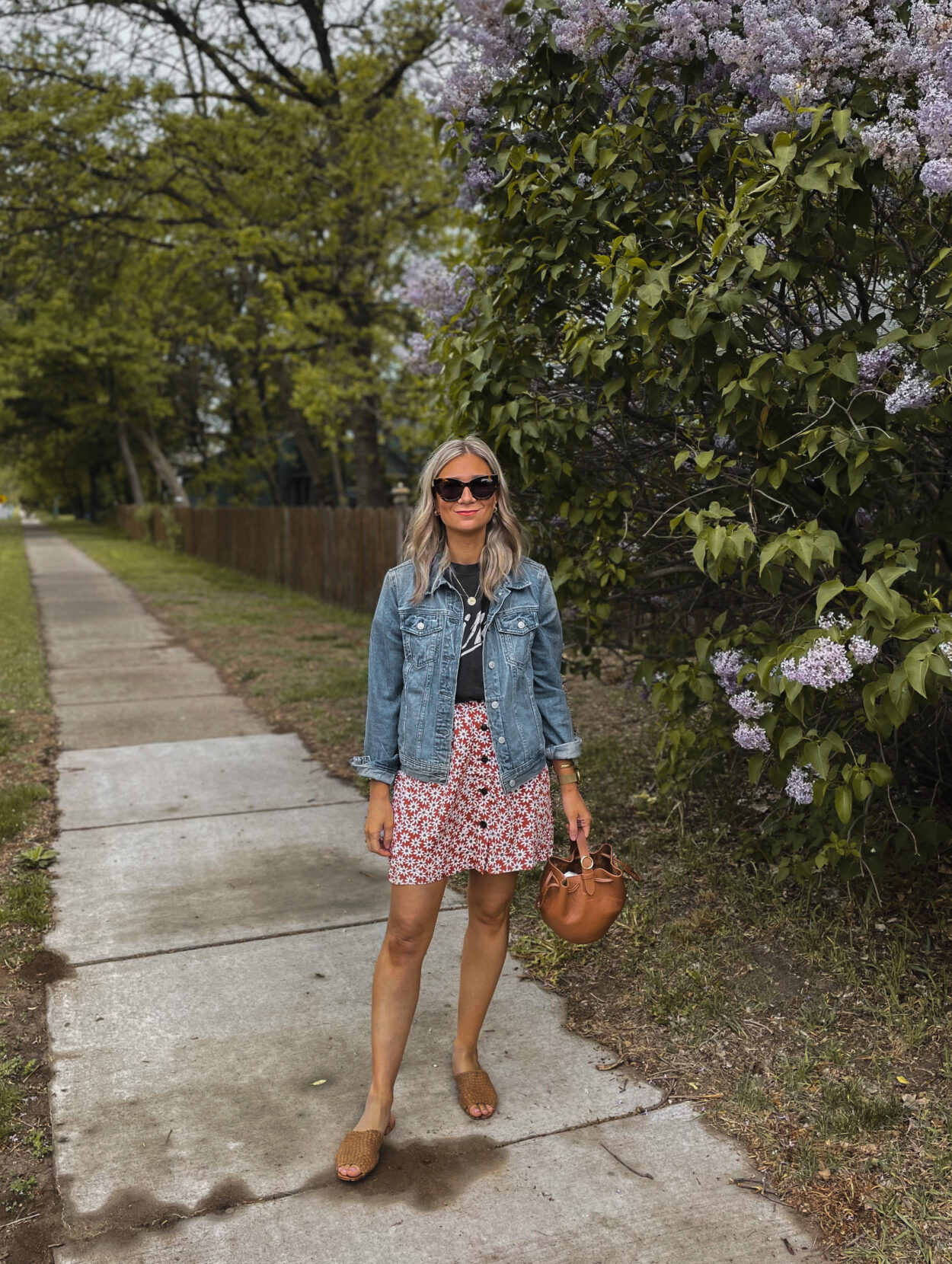 How to Style a Mini Skirt for Transitional Weather, Madewell Mini skirt, Madewell floral skirt, Best Jean Jacket, Anine Bing Graphic Tee