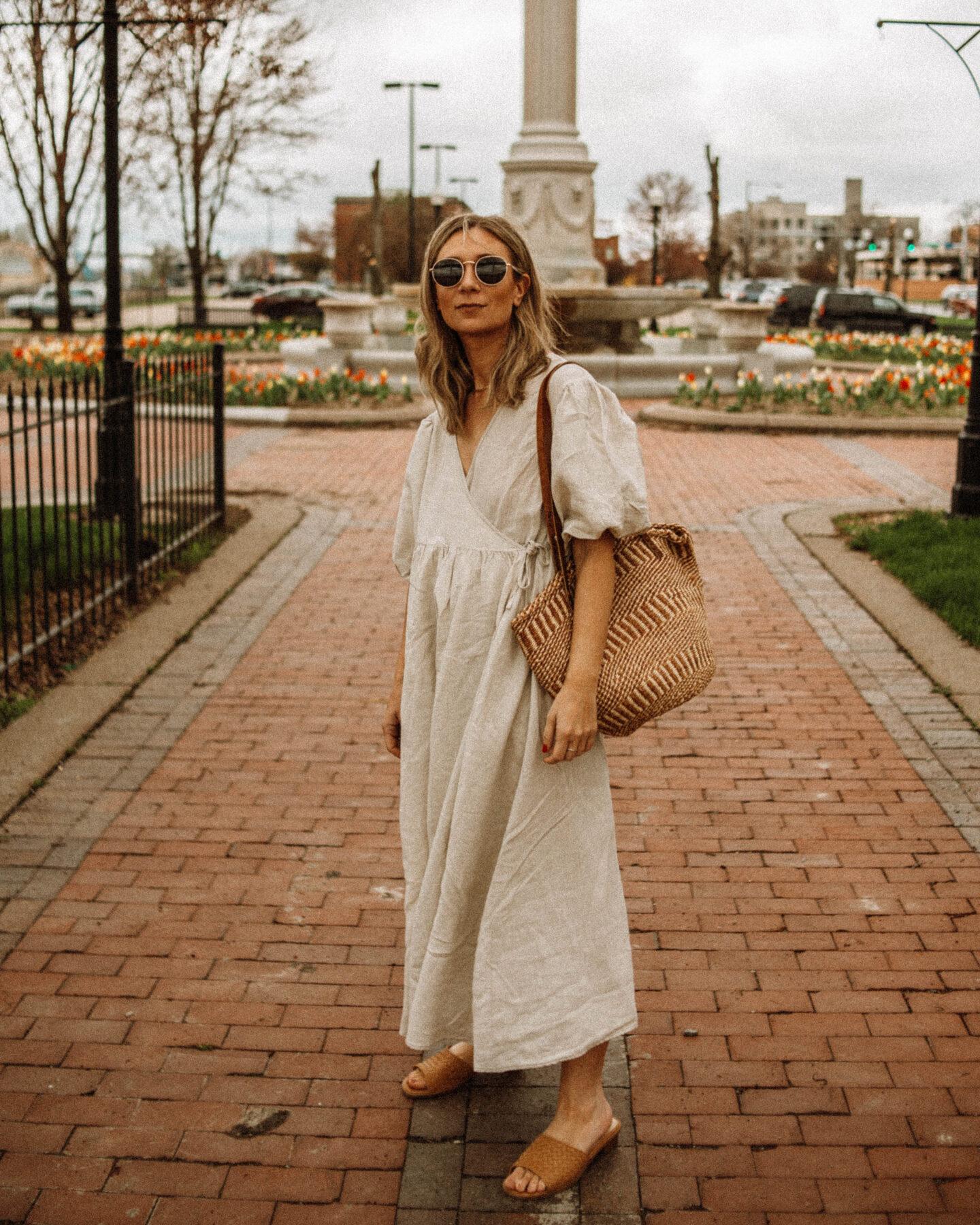 My Favorite Summer Dresses + How I'm Styling Them, linen dress, puff sleeve dress
