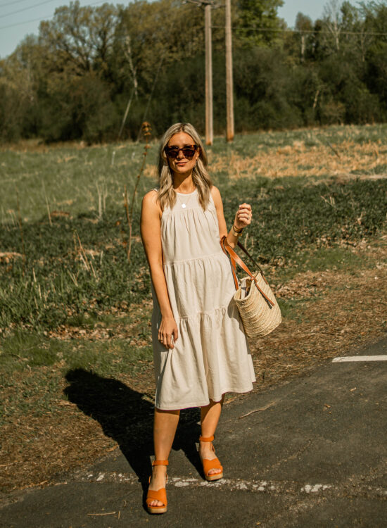 Everlane tiered sun dress and clog sandal review
