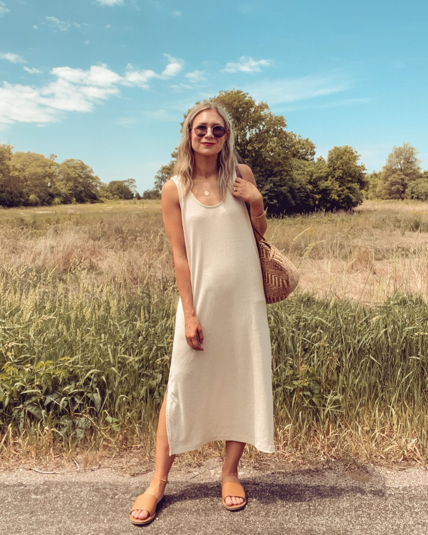 cream midi dress, summer dress, old navy haul