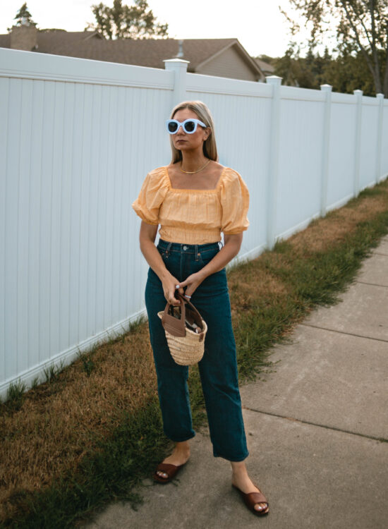 brown slide sandal, wilder review, maude slide wilder review, yellow puffy sleeve blouse