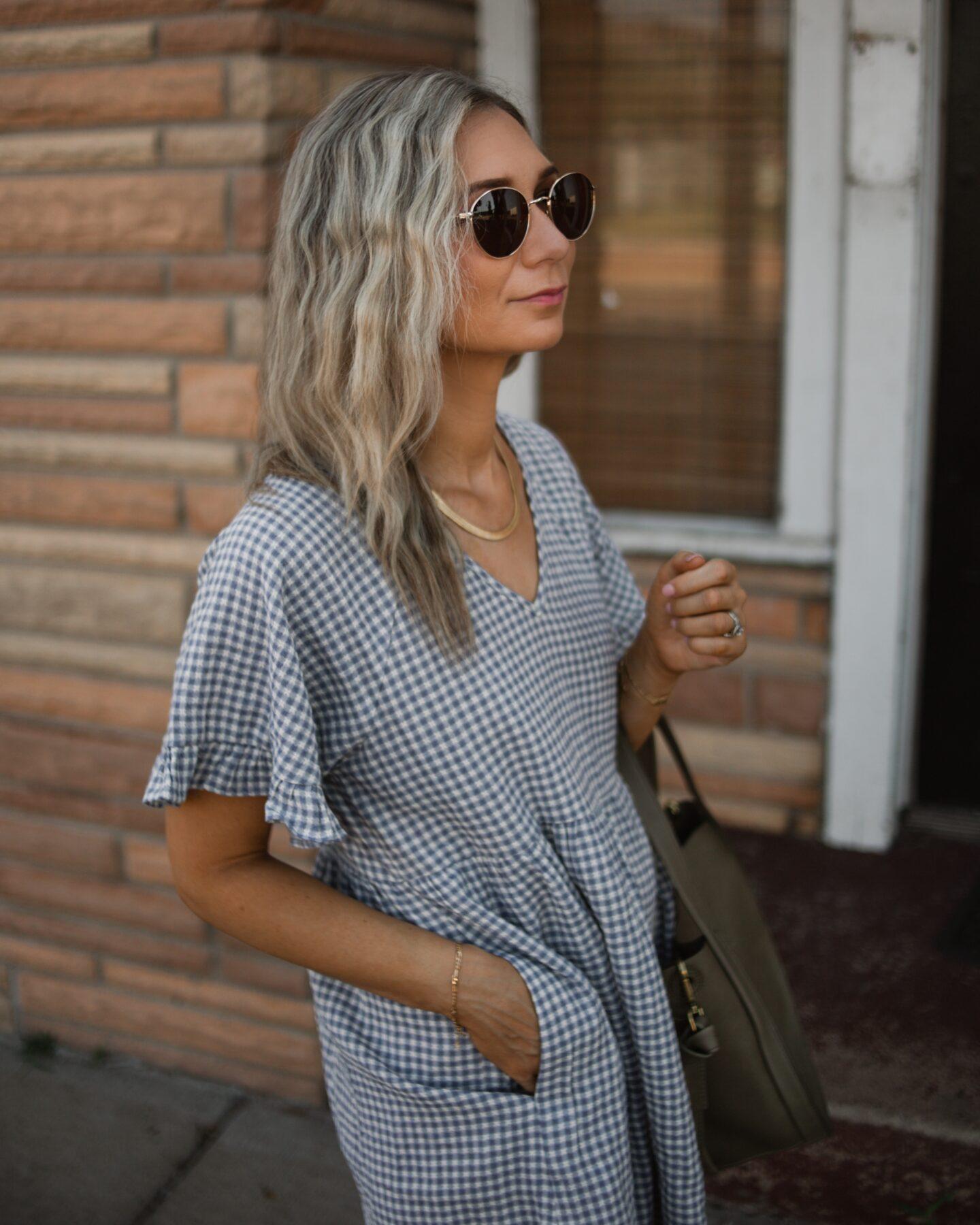 madewell ruffle sleeve babydoll dress, madewell sidewalk low top sneakers, madewell sydney shoulder bag review