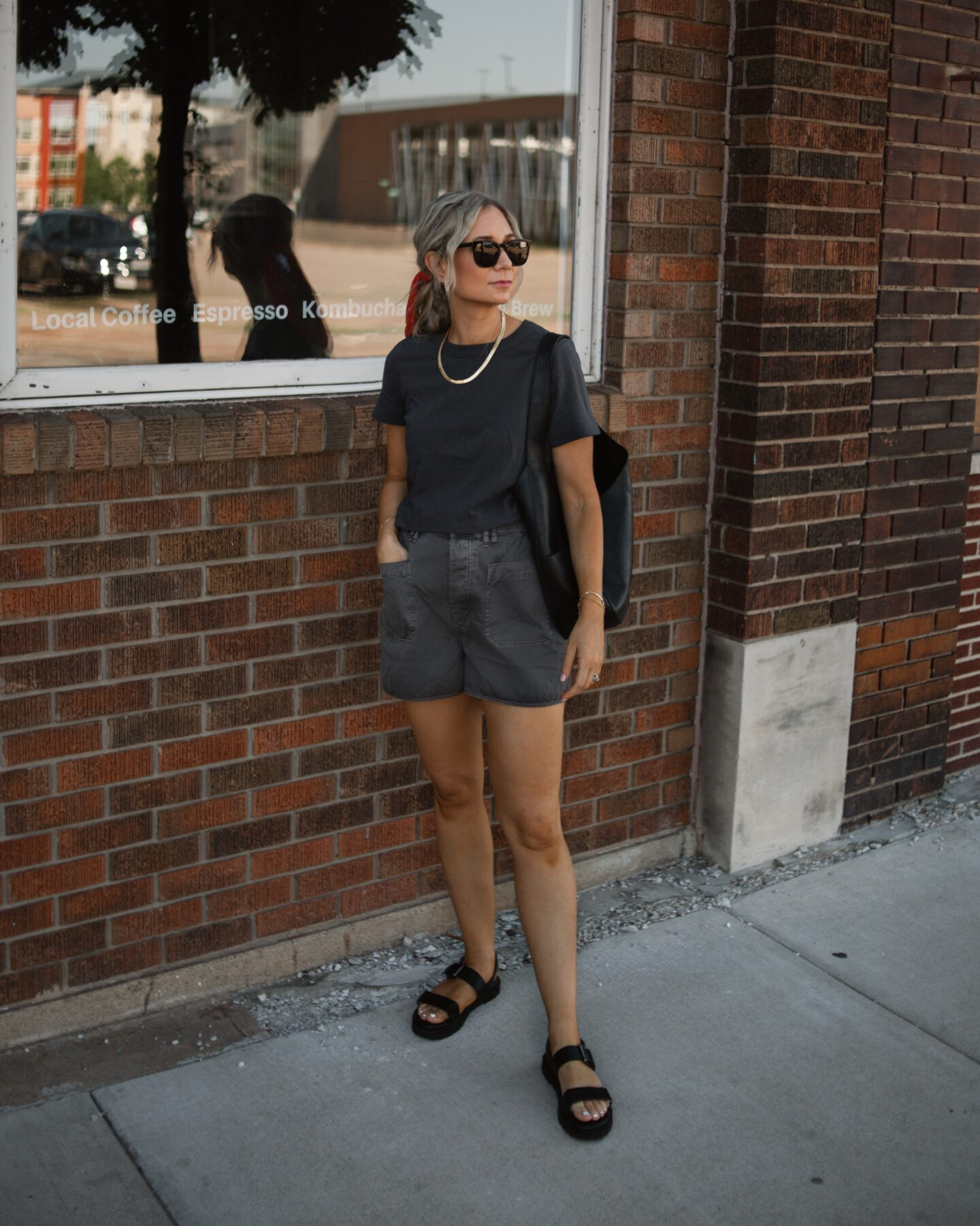 madewell haul, madewell supercrop tee, madewell belclaire pull on shorts, madewell cady lugsole sandals, Madewell oversized shopper bag, review
